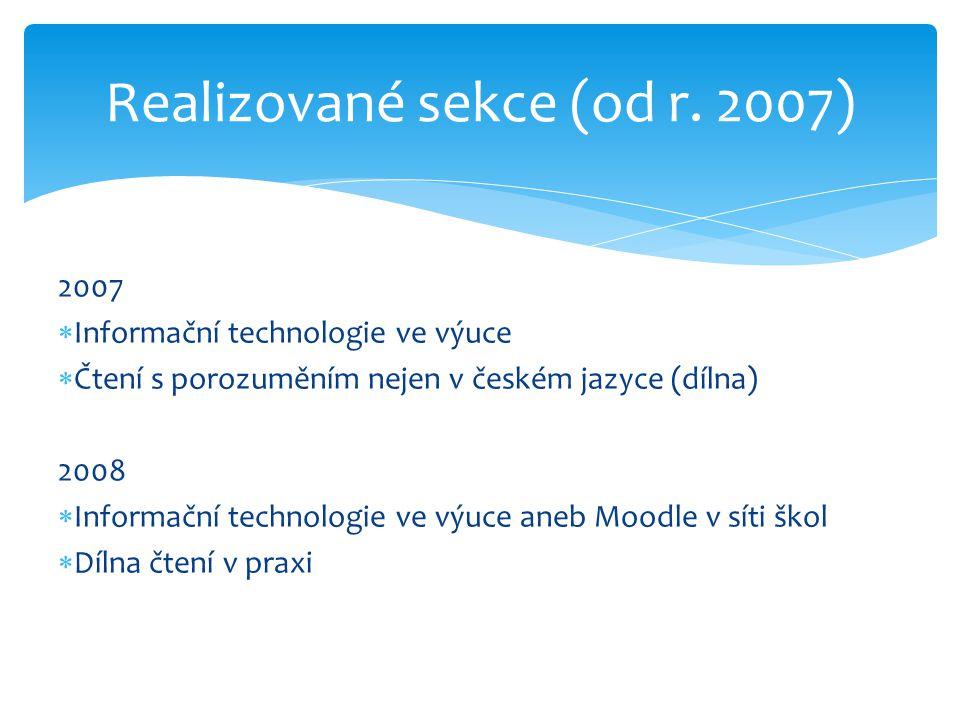 2007  Informační technologie ve výuce  Čtení s porozuměním nejen v českém jazyce (dílna) 2008  Informační technologie ve výuce aneb Moodle v síti škol  Dílna čtení v praxi Realizované sekce (od r.