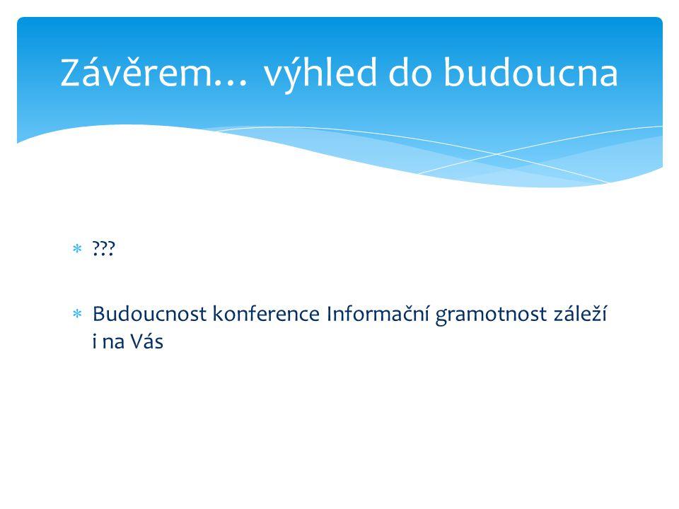  ???  Budoucnost konference Informační gramotnost záleží i na Vás Závěrem… výhled do budoucna