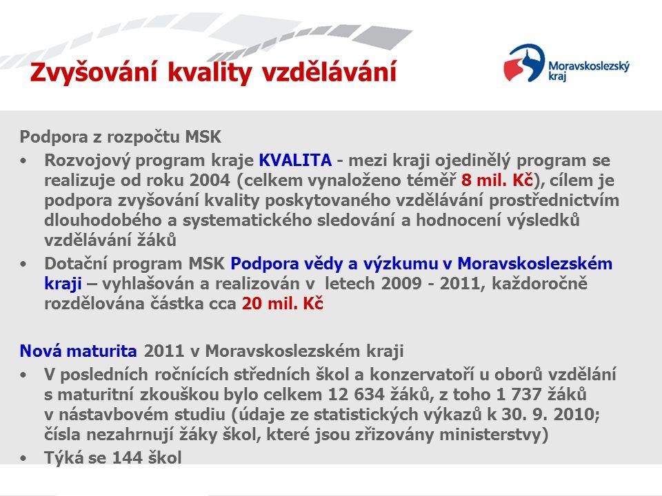Zvyšování kvality vzdělávání Podpora z rozpočtu MSK Rozvojový program kraje KVALITA - mezi kraji ojedinělý program se realizuje od roku 2004 (celkem vynaloženo téměř 8 mil.
