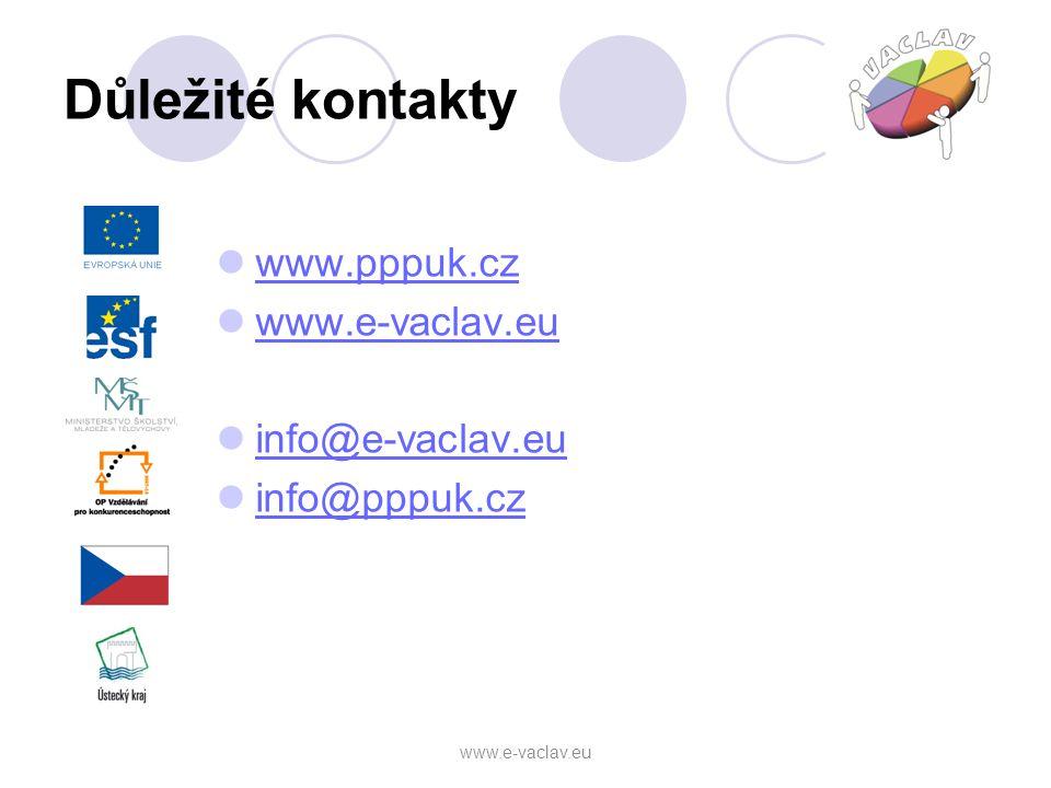 Důležité kontakty www.pppuk.cz www.e-vaclav.eu info@e-vaclav.eu info@pppuk.cz www.e-vaclav.eu