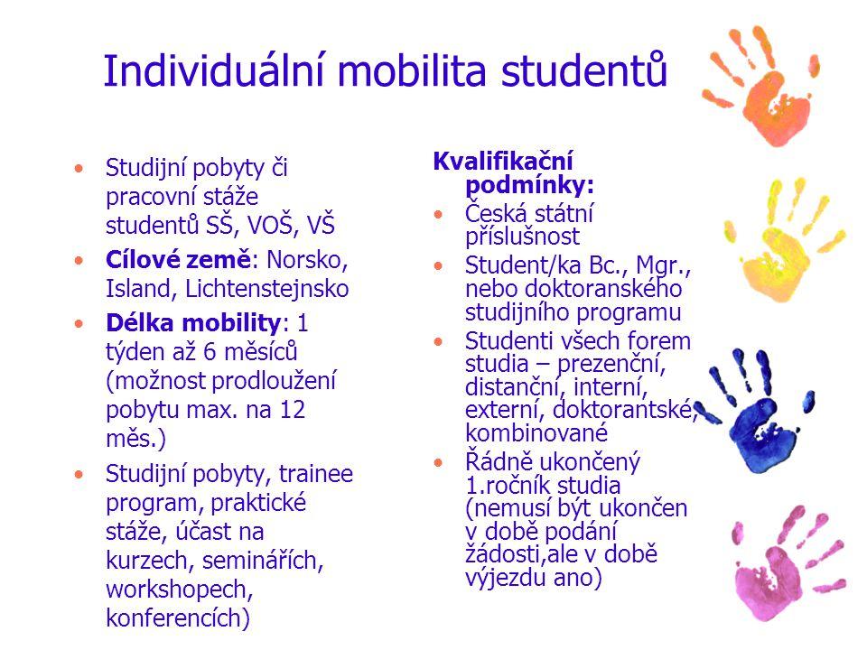 Individuální mobilita studentů Studijní pobyty či pracovní stáže studentů SŠ, VOŠ, VŠ Cílové země: Norsko, Island, Lichtenstejnsko Délka mobility: 1 týden až 6 měsíců (možnost prodloužení pobytu max.