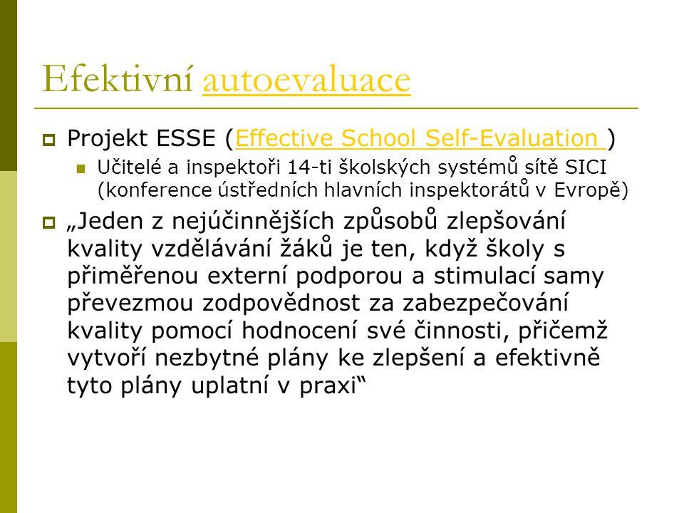 """Efektivní autoevaluaceautoevaluace  Projekt ESSE (Effective School Self-Evaluation )Effective School Self-Evaluation Učitelé a inspektoři 14-ti školských systémů sítě SICI (konference ústředních hlavních inspektorátů v Evropě)  """"Jeden z nejúčinnějších způsobů zlepšování kvality vzdělávání žáků je ten, když školy s přiměřenou externí podporou a stimulací samy převezmou zodpovědnost za zabezpečování kvality pomocí hodnocení své činnosti, přičemž vytvoří nezbytné plány ke zlepšení a efektivně tyto plány uplatní v praxi"""