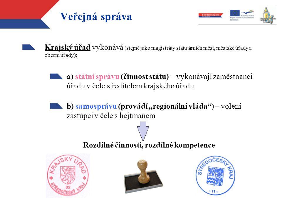 Veřejná správa Krajský úřad vykonává (stejně jako magistráty statutárních měst, městské úřady a obecní úřady): a) státní správu (činnost státu) – vyko
