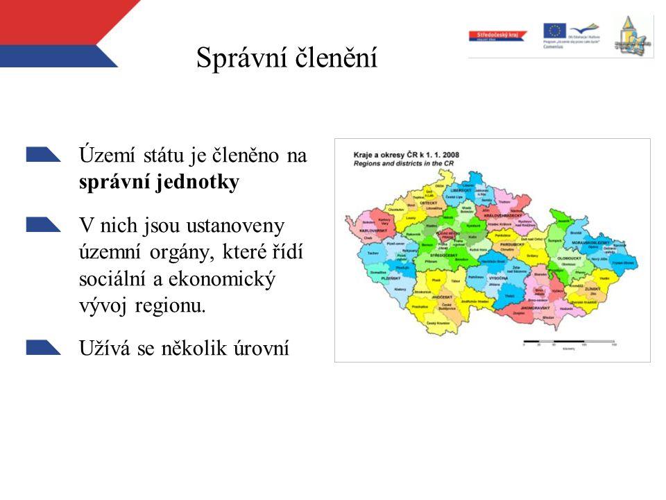 Správní členění Území státu je členěno na správní jednotky V nich jsou ustanoveny územní orgány, které řídí sociální a ekonomický vývoj regionu. Užívá