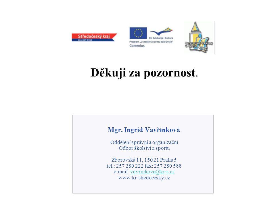 Děkuji za pozornost. Mgr. Ingrid Vavřínková Oddělení správní a organizační Odbor školství a sportu Zborovská 11, 150 21 Praha 5 tel.: 257 280 222 fax: