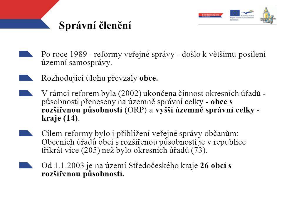 Správní členění Po roce 1989 - reformy veřejné správy - došlo k většímu posílení územní samosprávy. Rozhodující úlohu převzaly obce. V rámci reforem b