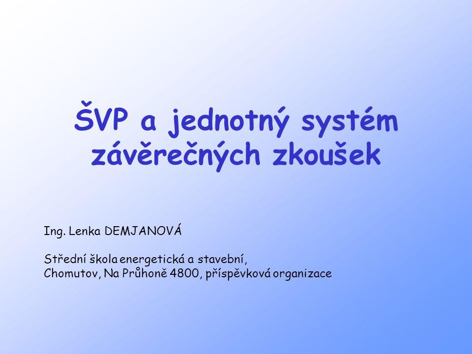 ŠVP a jednotný systém závěrečných zkoušek Ing.