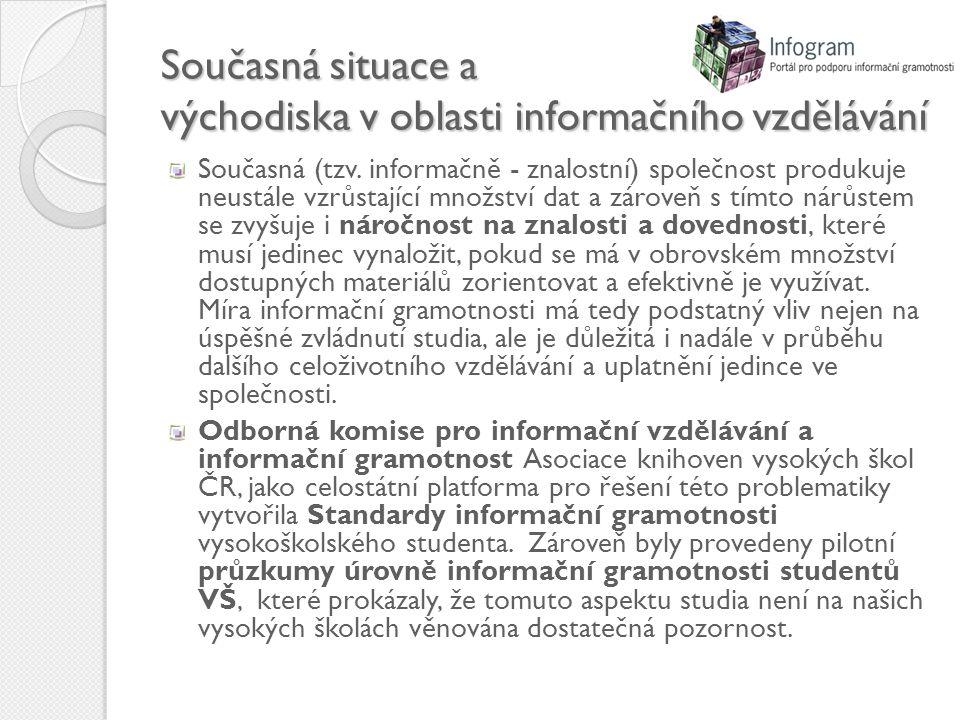 Současná situace a východiska v oblasti informačního vzdělávání Současná (tzv.