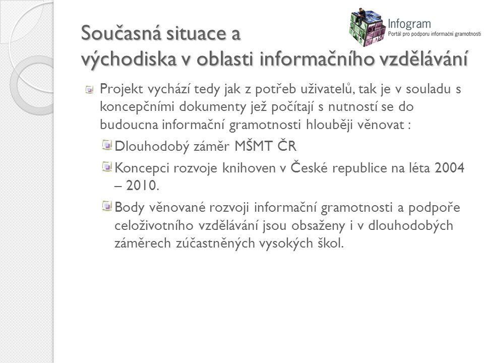 Současná situace a východiska v oblasti informačního vzdělávání Projekt vychází tedy jak z potřeb uživatelů, tak je v souladu s koncepčními dokumenty jež počítají s nutností se do budoucna informační gramotnosti hlouběji věnovat : Dlouhodobý záměr MŠMT ČR Koncepci rozvoje knihoven v České republice na léta 2004 – 2010.