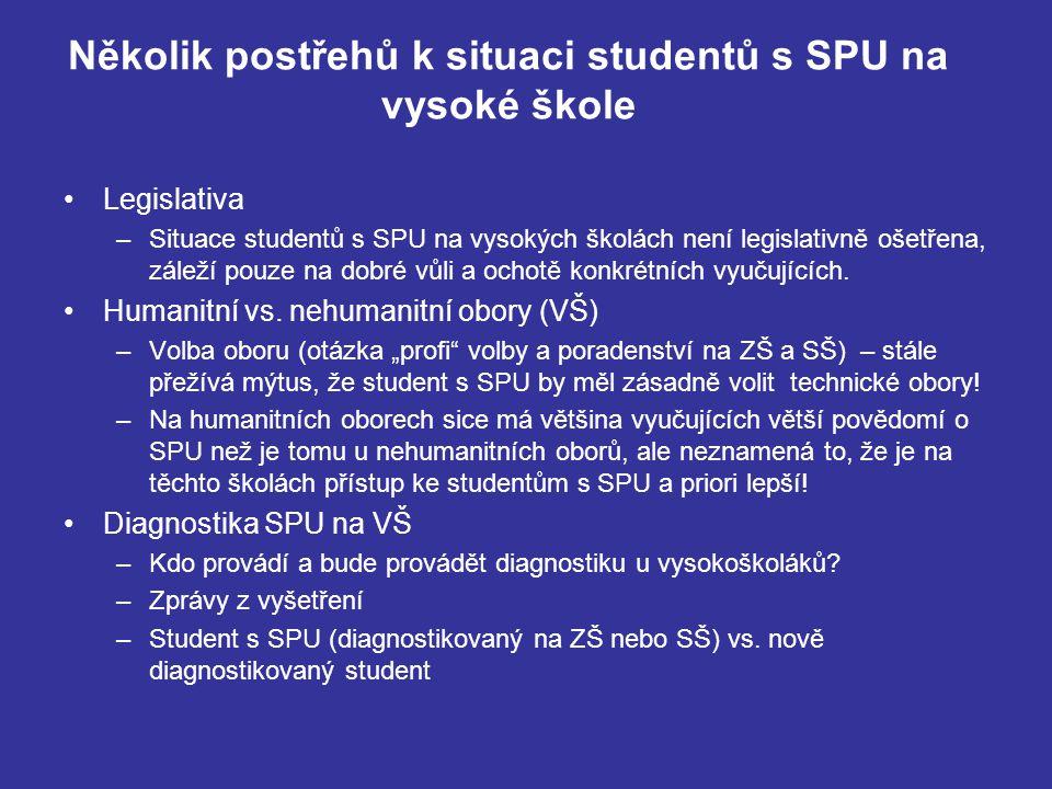 Několik postřehů k situaci studentů s SPU na vysoké škole Legislativa –Situace studentů s SPU na vysokých školách není legislativně ošetřena, záleží p