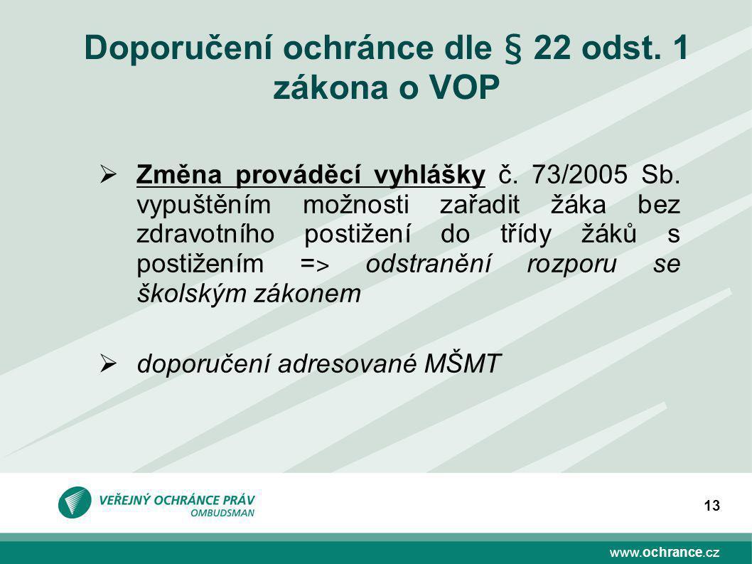 www.ochrance.cz 13 Doporučení ochránce dle § 22 odst.
