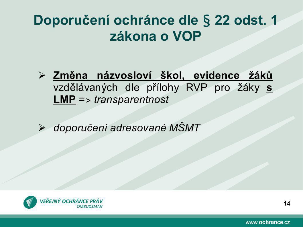 www.ochrance.cz 14 Doporučení ochránce dle § 22 odst.