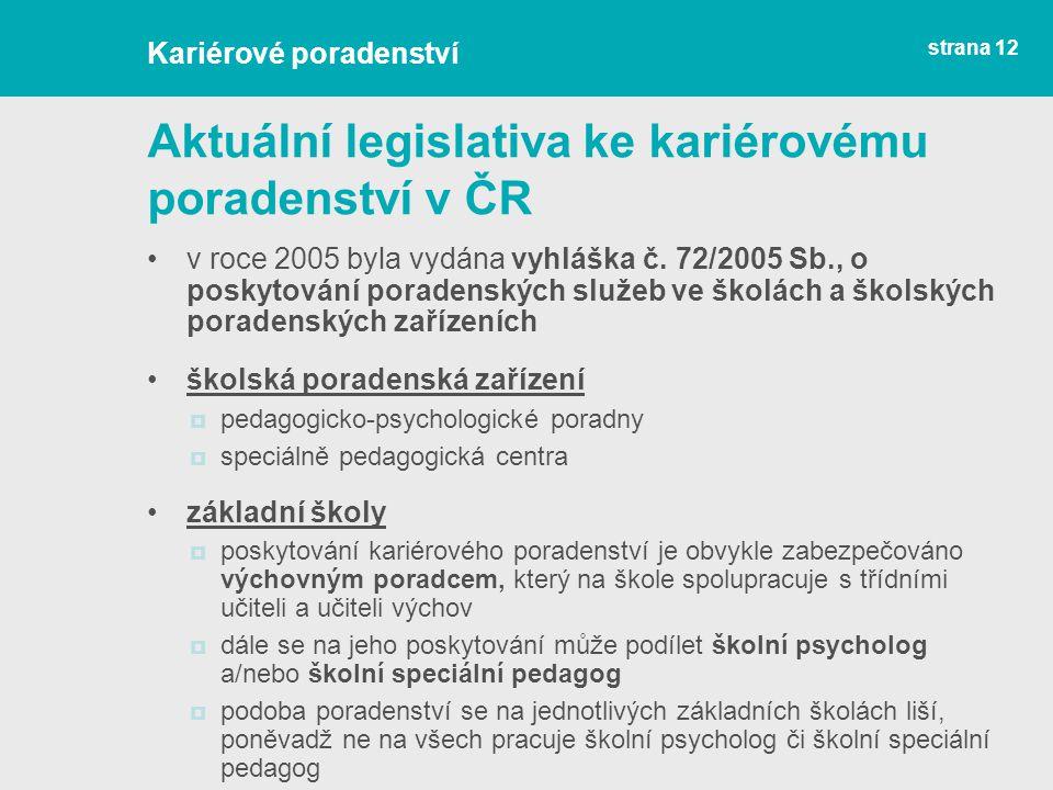 Aktuální legislativa ke kariérovému poradenství v ČR v roce 2005 byla vydána vyhláška č. 72/2005 Sb., o poskytování poradenských služeb ve školách a š