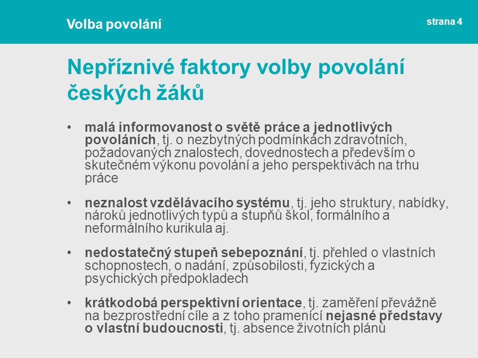 Nepříznivé faktory volby povolání českých žáků malá informovanost o světě práce a jednotlivých povoláních, tj. o nezbytných podmínkách zdravotních, po
