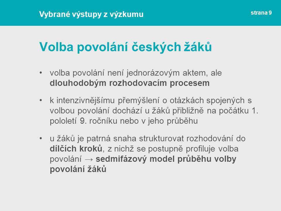 Volba povolání českých žáků volba povolání není jednorázovým aktem, ale dlouhodobým rozhodovacím procesem k intenzivnějšímu přemýšlení o otázkách spoj