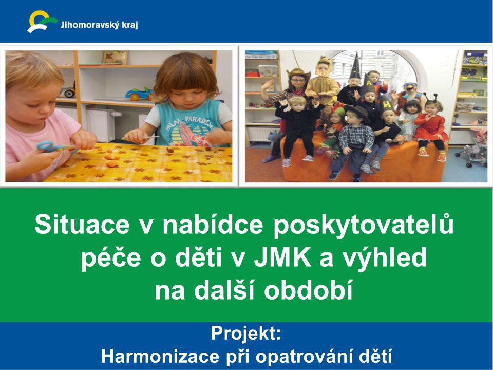 Situace v nabídce poskytovatelů péče o děti v JMK a výhled na další období Projekt: Harmonizace při opatrování dětí