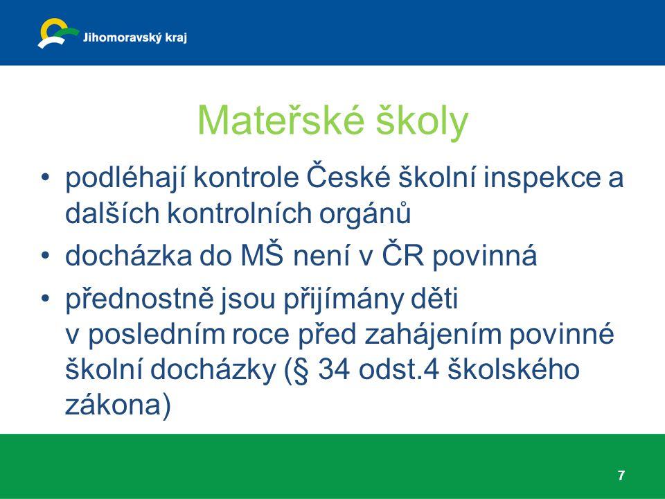 Mateřské školy podléhají kontrole České školní inspekce a dalších kontrolních orgánů docházka do MŠ není v ČR povinná přednostně jsou přijímány děti v