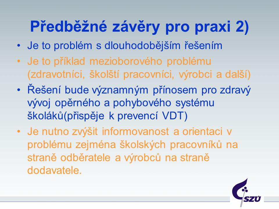 Předběžné závěry pro praxi 2) Je to problém s dlouhodobějším řešením Je to příklad mezioborového problému (zdravotníci, školští pracovníci, výrobci a