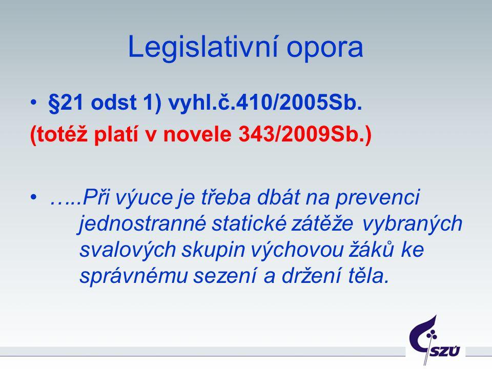 Legislativní opora §21 odst 1) vyhl.č.410/2005Sb. (totéž platí v novele 343/2009Sb.) …..Při výuce je třeba dbát na prevenci jednostranné statické zátě