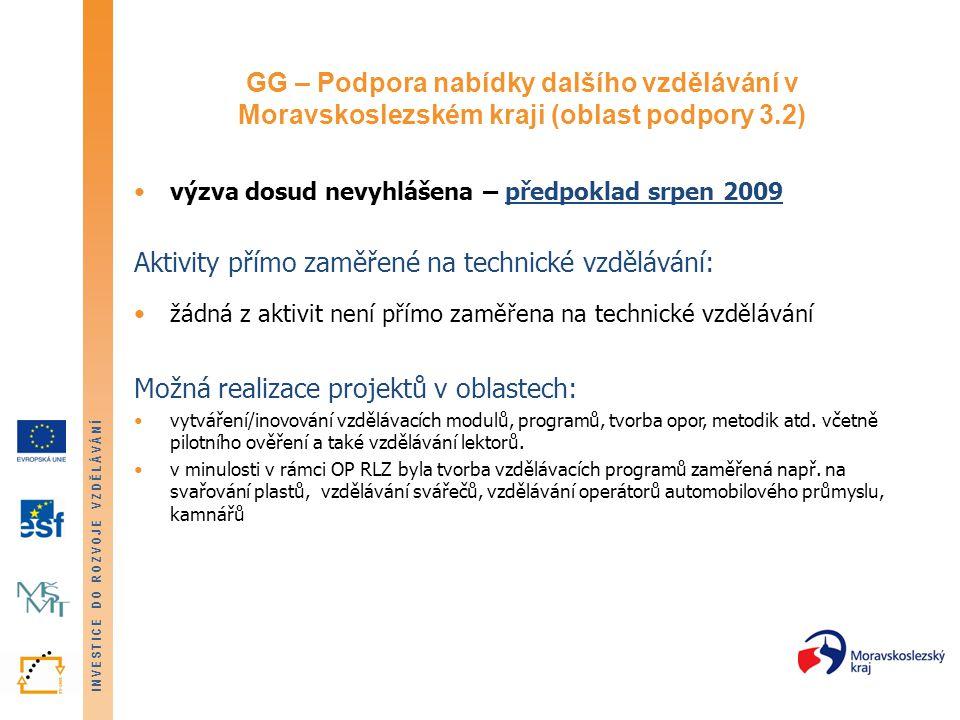 INVESTICE DO ROZVOJE VZDĚLÁVÁNÍ GG – Podpora nabídky dalšího vzdělávání v Moravskoslezském kraji (oblast podpory 3.2) výzva dosud nevyhlášena – předpoklad srpen 2009 Aktivity přímo zaměřené na technické vzdělávání: žádná z aktivit není přímo zaměřena na technické vzdělávání Možná realizace projektů v oblastech: vytváření/inovování vzdělávacích modulů, programů, tvorba opor, metodik atd.