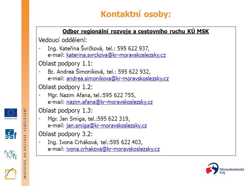 INVESTICE DO ROZVOJE VZDĚLÁVÁNÍ Kontaktní osoby: Odbor regionální rozvoje a cestovního ruchu KÚ MSK Vedoucí oddělení: Ing.
