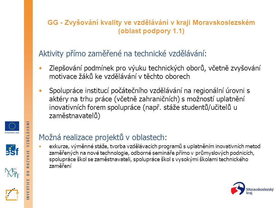 INVESTICE DO ROZVOJE VZDĚLÁVÁNÍ GG - Zvyšování kvality ve vzdělávání v kraji Moravskoslezském (oblast podpory 1.1) Aktivity přímo zaměřené na technické vzdělávání: Zlepšování podmínek pro výuku technických oborů, včetně zvyšování motivace žáků ke vzdělávání v těchto oborech Spolupráce institucí počátečního vzdělávání na regionální úrovni s aktéry na trhu práce (včetně zahraničních) s možností uplatnění inovativních forem spolupráce (např.
