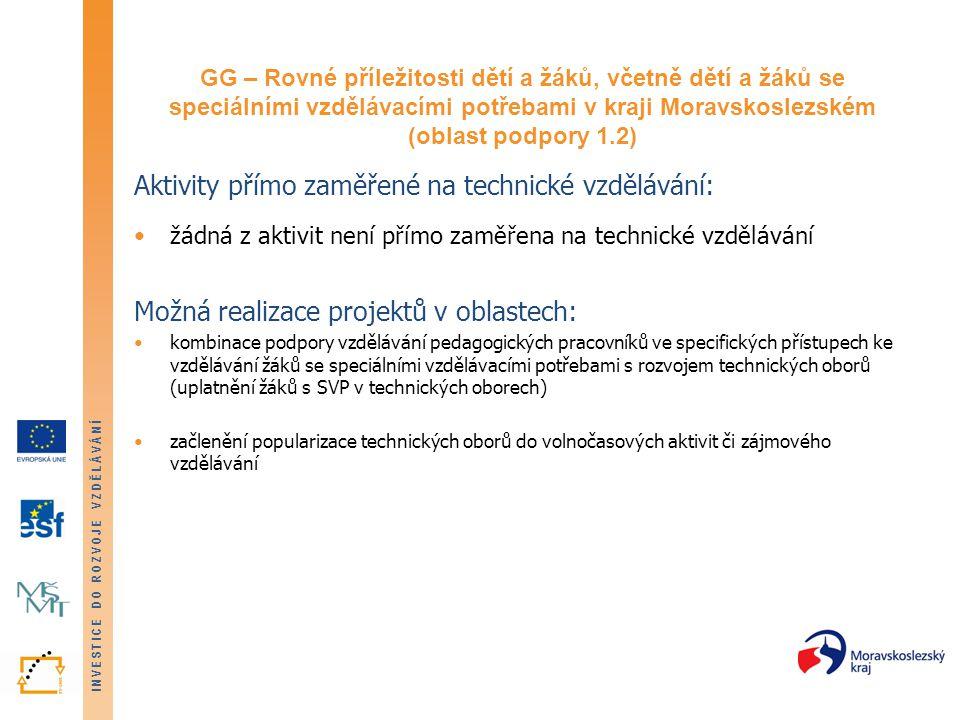 INVESTICE DO ROZVOJE VZDĚLÁVÁNÍ GG – Rovné příležitosti dětí a žáků, včetně dětí a žáků se speciálními vzdělávacími potřebami v kraji Moravskoslezském (oblast podpory 1.2) Aktivity přímo zaměřené na technické vzdělávání: žádná z aktivit není přímo zaměřena na technické vzdělávání Možná realizace projektů v oblastech: kombinace podpory vzdělávání pedagogických pracovníků ve specifických přístupech ke vzdělávání žáků se speciálními vzdělávacími potřebami s rozvojem technických oborů (uplatnění žáků s SVP v technických oborech) začlenění popularizace technických oborů do volnočasových aktivit či zájmového vzdělávání