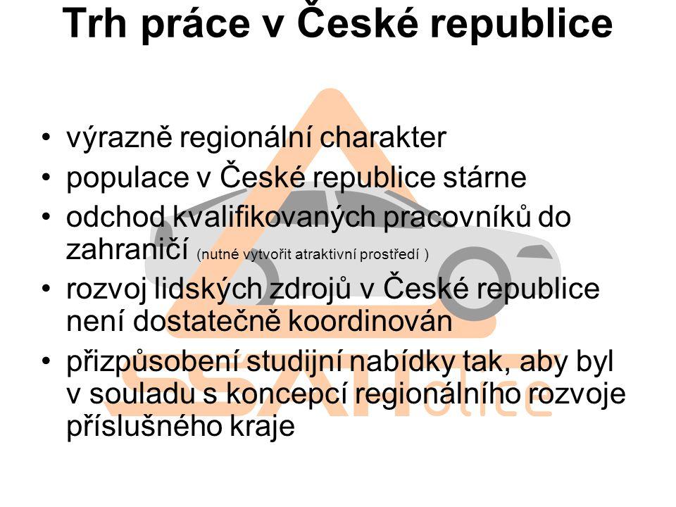 Trh práce v České republice výrazně regionální charakter populace v České republice stárne odchod kvalifikovaných pracovníků do zahraničí (nutné vytvo
