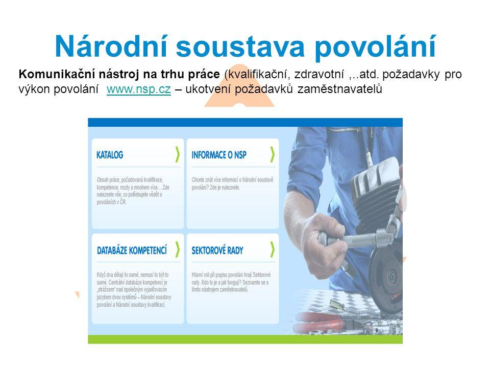 Národní soustava povolání Komunikační nástroj na trhu práce (kvalifikační, zdravotní,..atd. požadavky pro výkon povolání www.nsp.cz – ukotvení požadav