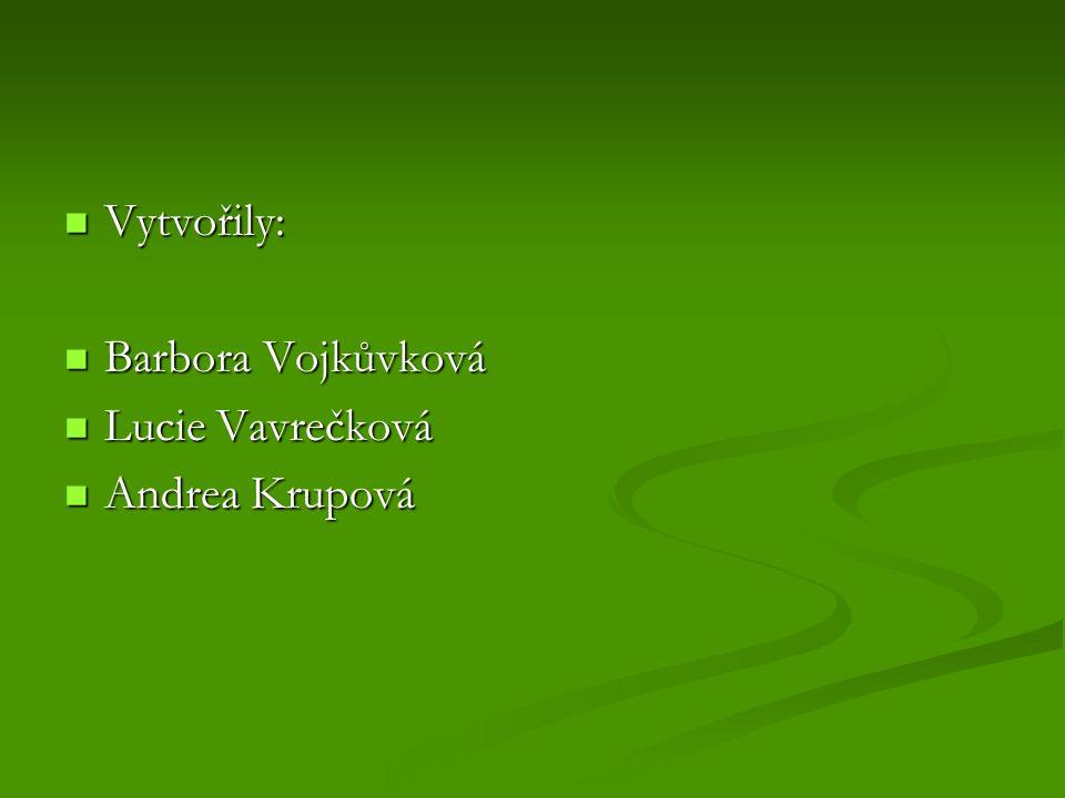 Vytvořily: Barbora Vojkůvková Lucie Vavrečková Andrea Krupová