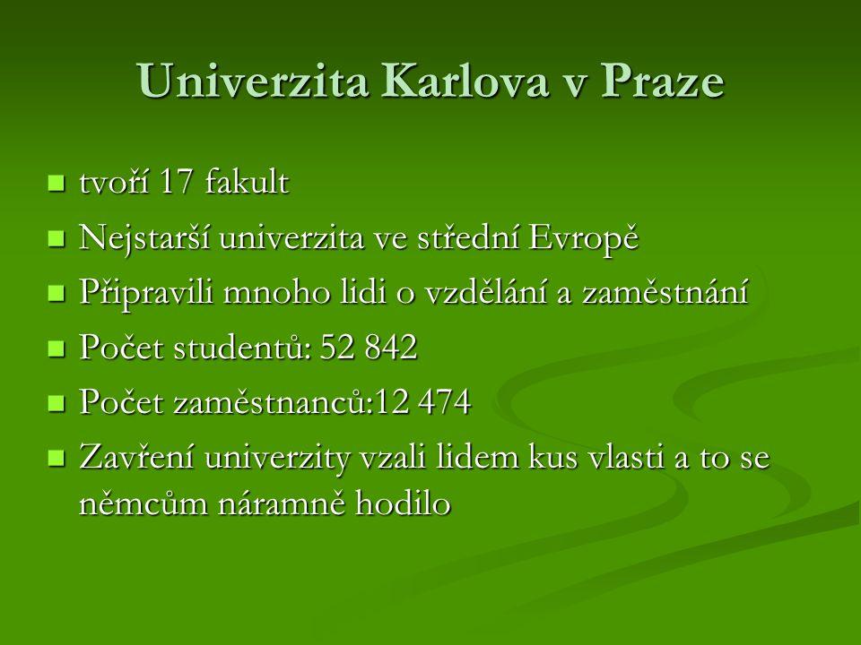 Univerzita Karlova v Praze tvoří 17 fakult tvoří 17 fakult Nejstarší univerzita ve střední Evropě Nejstarší univerzita ve střední Evropě Připravili mn