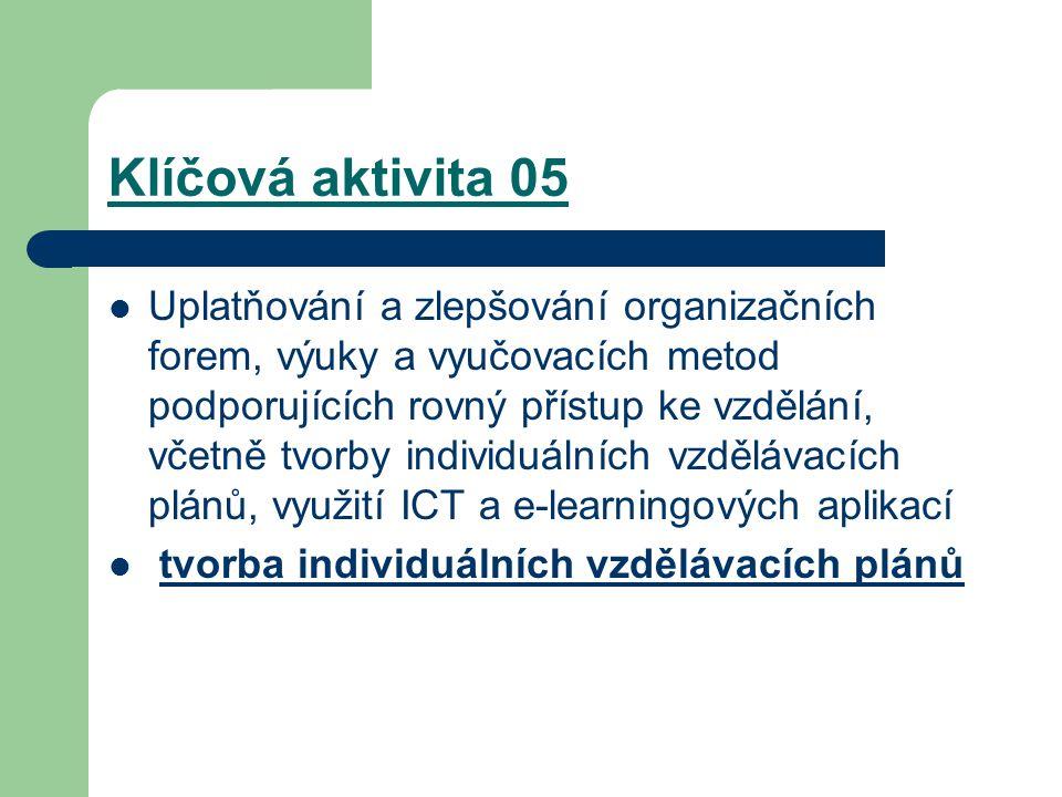 Klíčová aktivita 05 Uplatňování a zlepšování organizačních forem, výuky a vyučovacích metod podporujících rovný přístup ke vzdělání, včetně tvorby individuálních vzdělávacích plánů, využití ICT a e-learningových aplikací tvorba individuálních vzdělávacích plánů