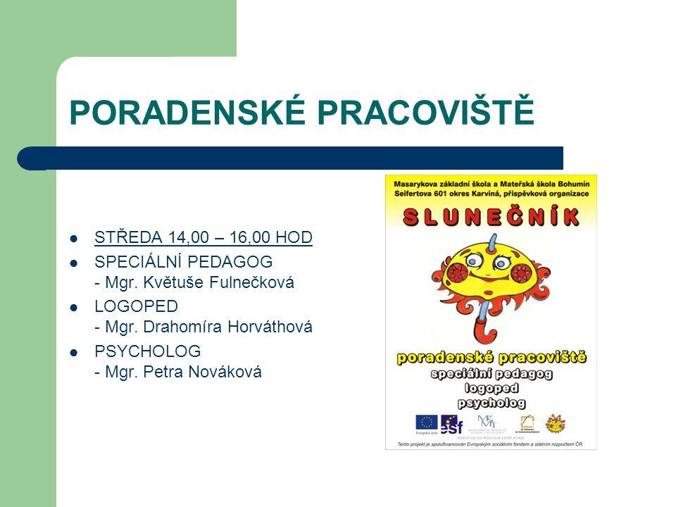 PORADENSKÉ PRACOVIŠTĚ STŘEDA 14,00 – 16,00 HOD SPECIÁLNÍ PEDAGOG - Mgr.