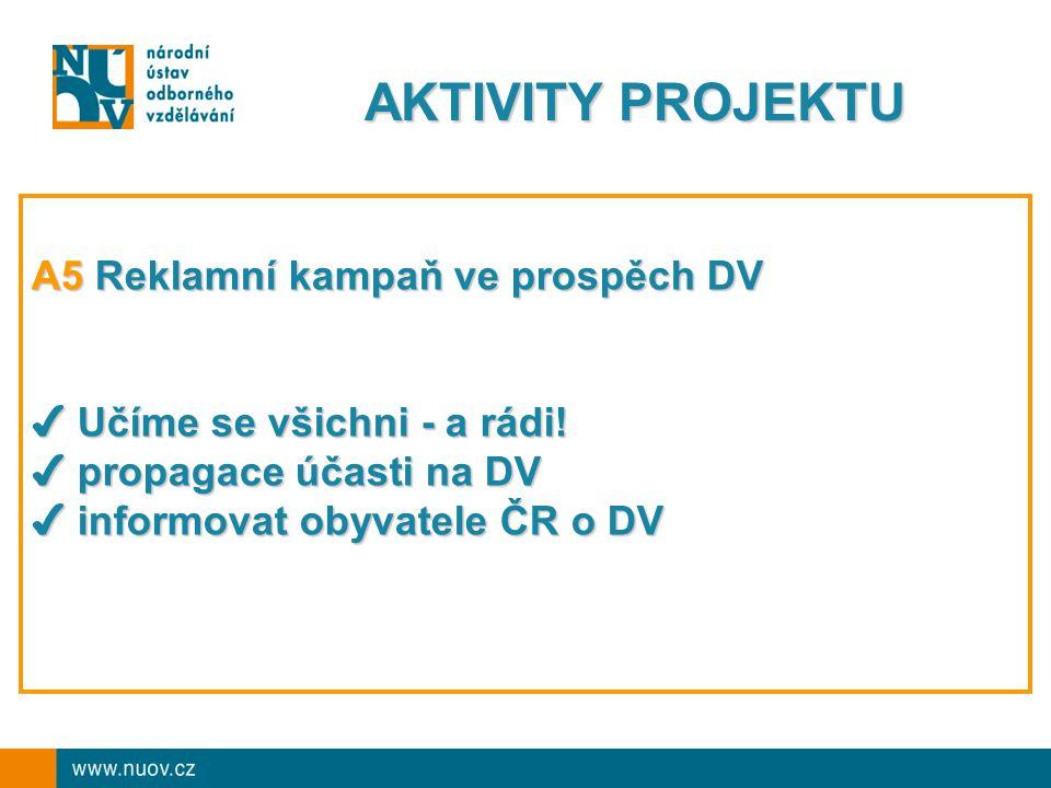 AKTIVITY PROJEKTU A5 Reklamní kampaň ve prospěch DV ✔ Učíme se všichni - a rádi.