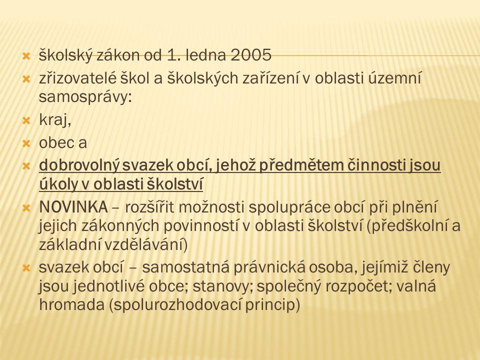  školský zákon od 1. ledna 2005  zřizovatelé škol a školských zařízení v oblasti územní samosprávy:  kraj,  obec a  dobrovolný svazek obcí, jehož