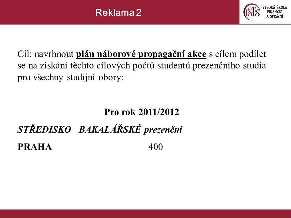 Cíl: navrhnout plán náborové propagační akce s cílem podílet se na získání těchto cílových počtů studentů prezenčního studia pro všechny studijní obory: Pro rok 2011/2012 STŘEDISKO BAKALÁŘSKÉ prezenční PRAHA 400 Reklama 2