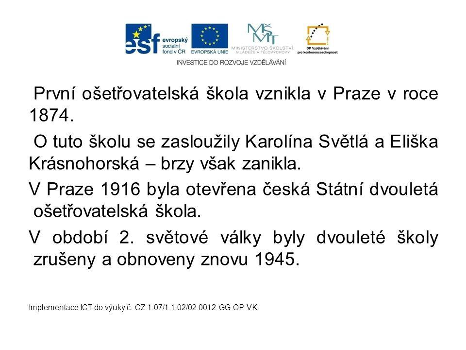 První ošetřovatelská škola vznikla v Praze v roce 1874. O tuto školu se zasloužily Karolína Světlá a Eliška Krásnohorská – brzy však zanikla. V Praze
