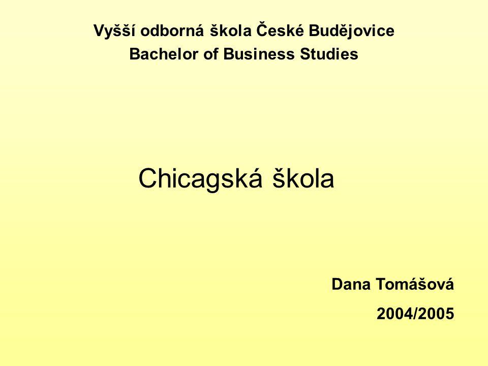 Chicagská škola Vyšší odborná škola České Budějovice Bachelor of Business Studies Dana Tomášová 2004/2005