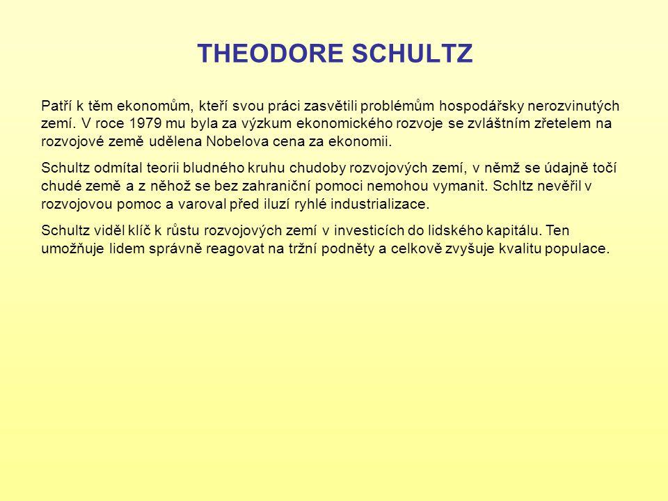 THEODORE SCHULTZ Patří k těm ekonomům, kteří svou práci zasvětili problémům hospodářsky nerozvinutých zemí. V roce 1979 mu byla za výzkum ekonomického