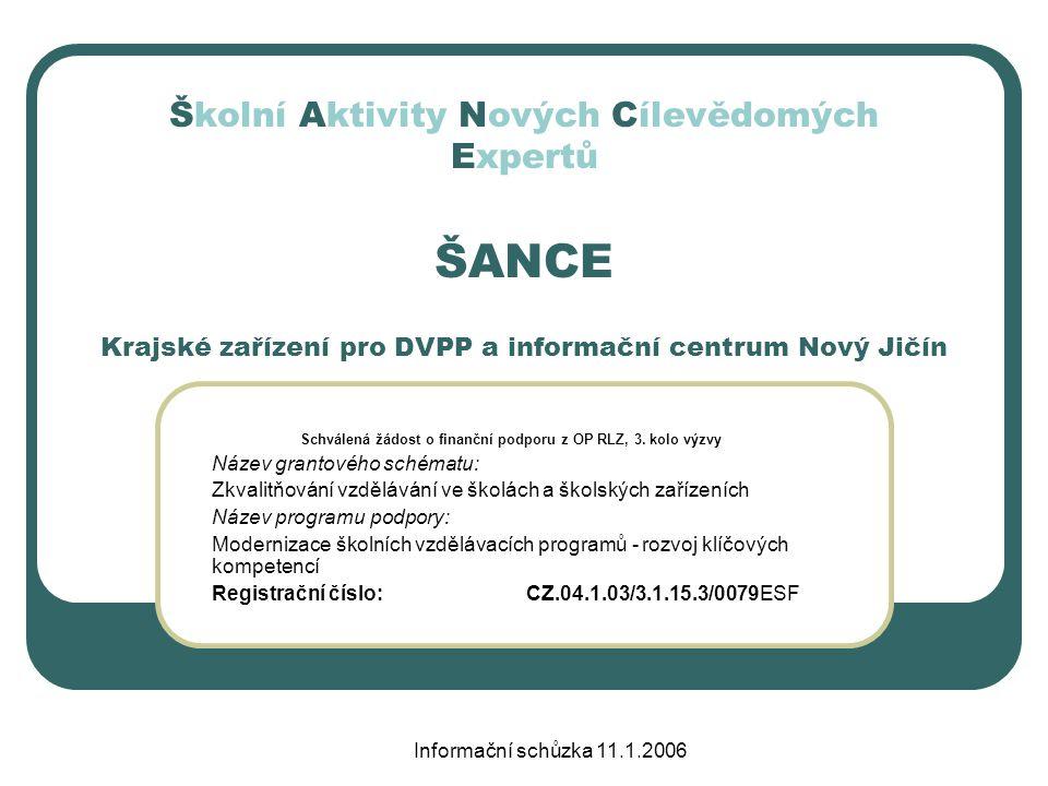 Informační schůzka 11.1.2006 ŠANCE – kdy.