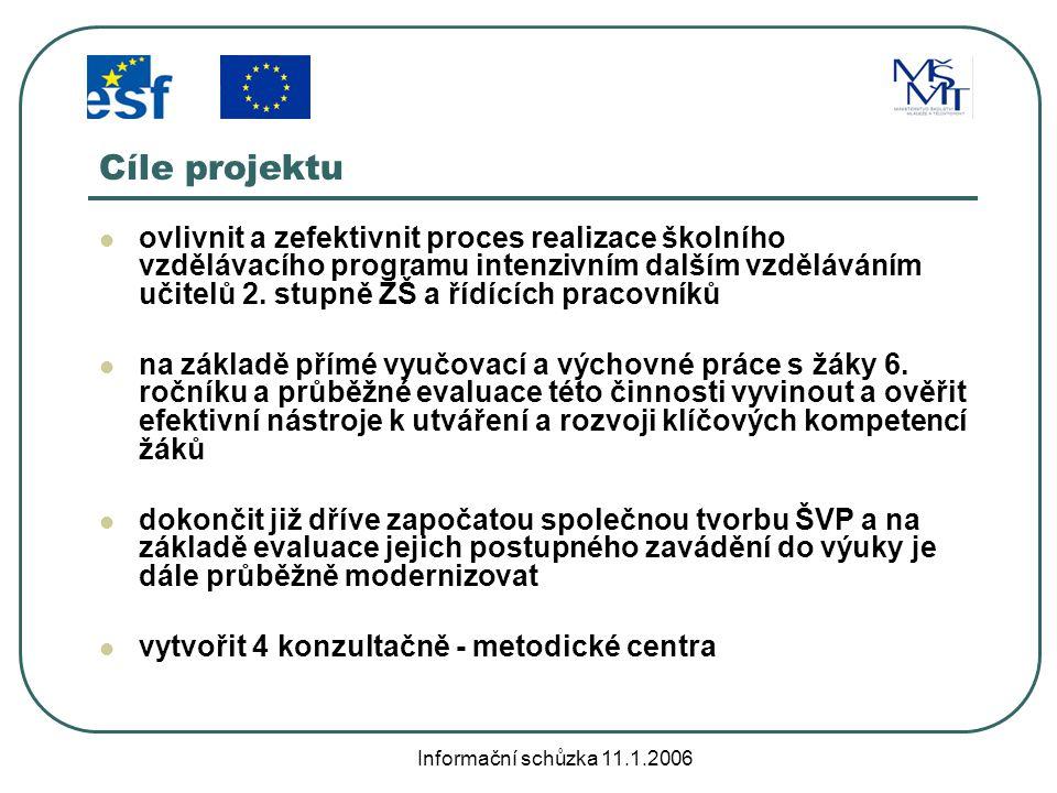 Informační schůzka 11.1.2006 ŠANCE – cílové skupiny učitelé II.