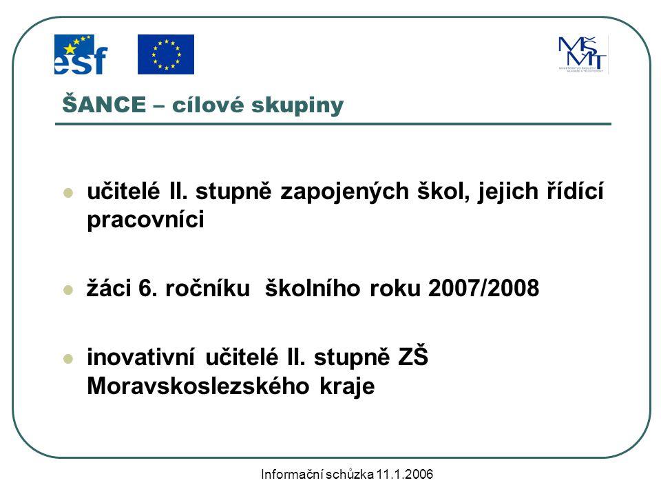 Informační schůzka 11.1.2006 ŠANCE - aktivity Tvorba, evaluace a modernizace ŠVP Aktivity se žáky Krajský podpůrný systém Organizace a řízení projektu