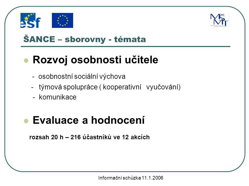 Informační schůzka 11.1.2006 ŠANCE – aktivity se žáky Adaptační pobyty žáků 6.