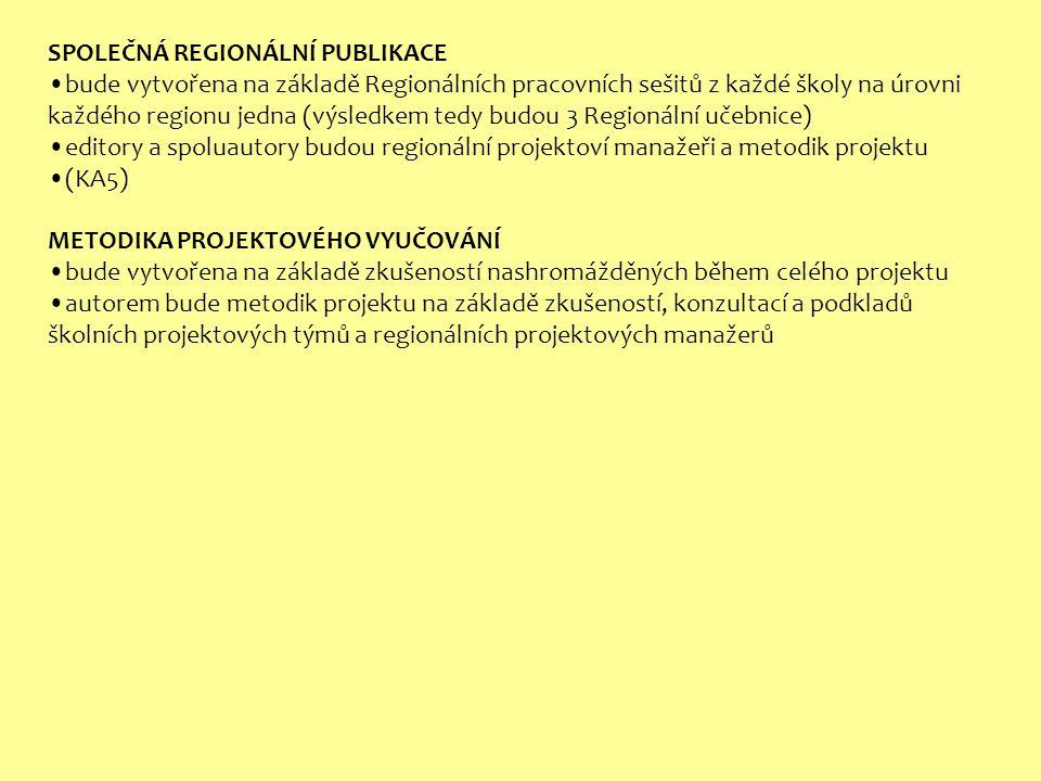 SPOLEČNÁ REGIONÁLNÍ PUBLIKACE bude vytvořena na základě Regionálních pracovních sešitů z každé školy na úrovni každého regionu jedna (výsledkem tedy budou 3 Regionální učebnice) editory a spoluautory budou regionální projektoví manažeři a metodik projektu (KA5) METODIKA PROJEKTOVÉHO VYUČOVÁNÍ bude vytvořena na základě zkušeností nashromážděných během celého projektu autorem bude metodik projektu na základě zkušeností, konzultací a podkladů školních projektových týmů a regionálních projektových manažerů