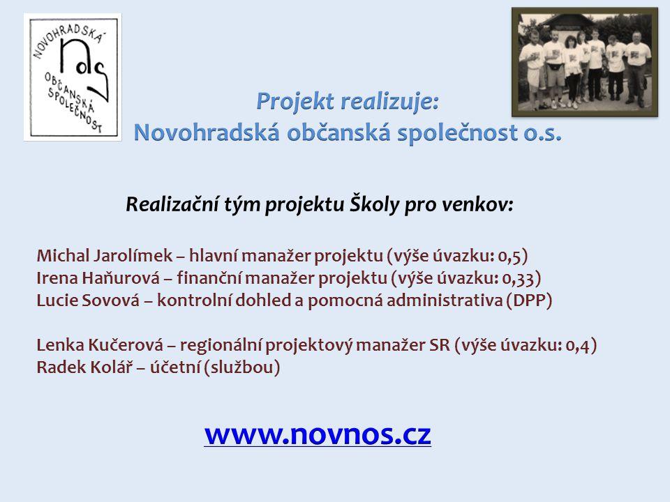 Realizační tým projektu Školy pro venkov: Michal Jarolímek – hlavní manažer projektu (výše úvazku: 0,5) Irena Haňurová – finanční manažer projektu (výše úvazku: 0,33) Lucie Sovová – kontrolní dohled a pomocná administrativa (DPP) Lenka Kučerová – regionální projektový manažer SR (výše úvazku: 0,4) Radek Kolář – účetní (službou)