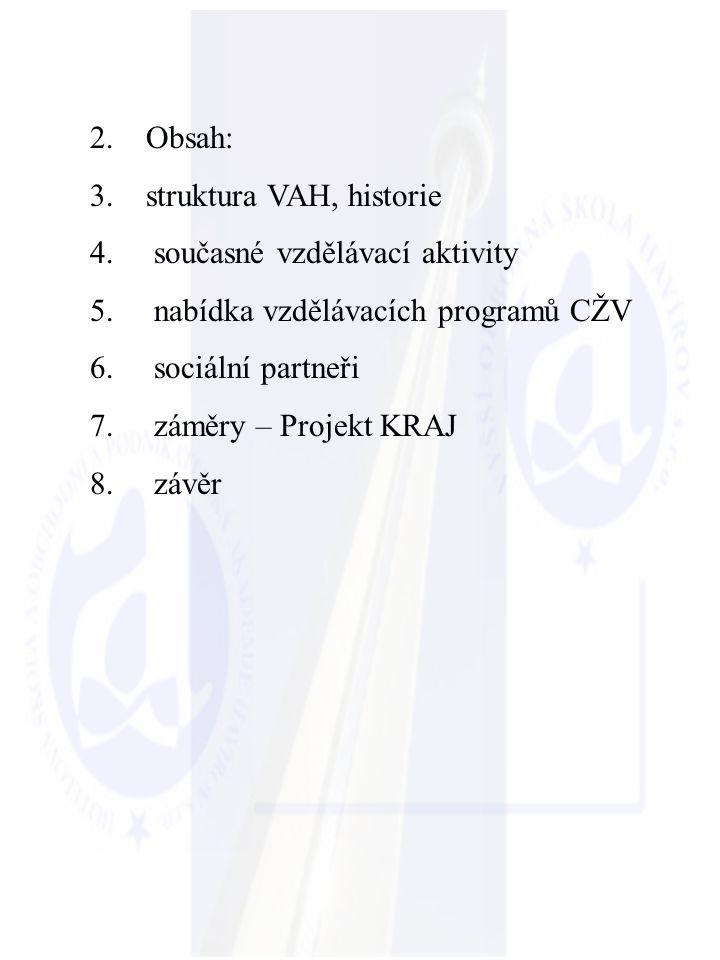 2. Obsah: 3. struktura VAH, historie 4. současné vzdělávací aktivity 5. nabídka vzdělávacích programů CŽV 6. sociální partneři 7. záměry – Projekt KRA