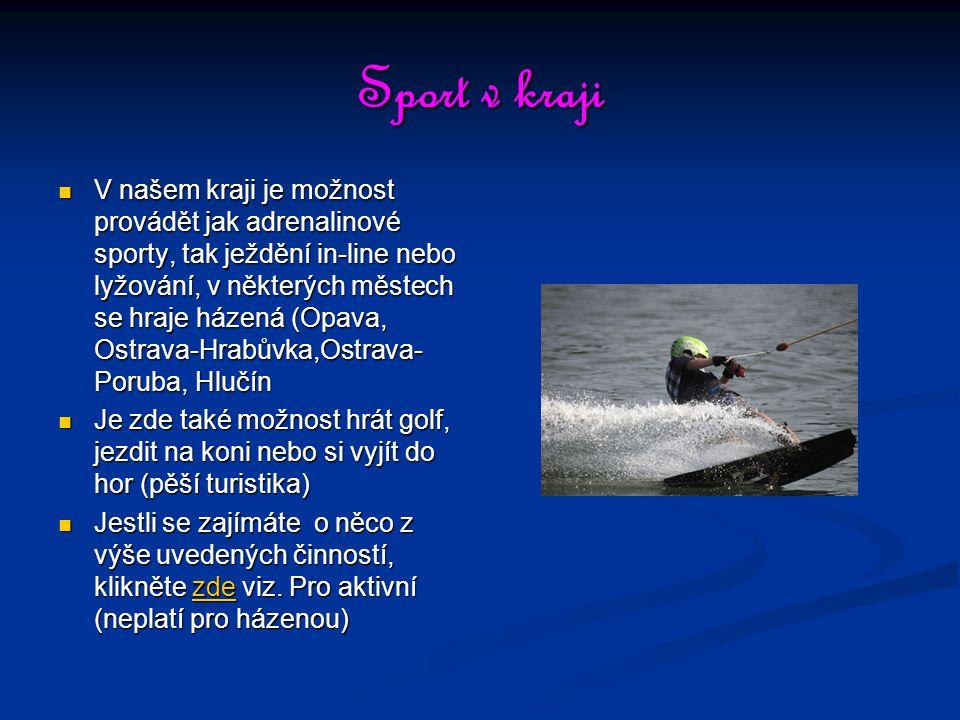 Sport v kraji V našem kraji je možnost provádět jak adrenalinové sporty, tak ježdění in-line nebo lyžování, v některých městech se hraje házená (Opava