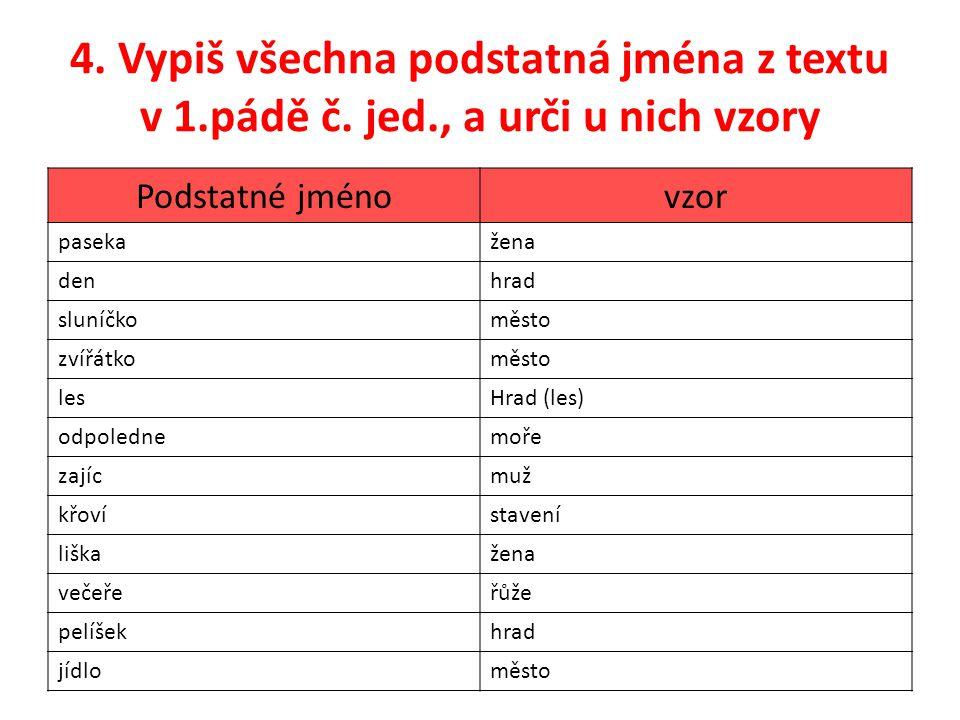 4.Vypiš všechna podstatná jména z textu v 1.pádě č.