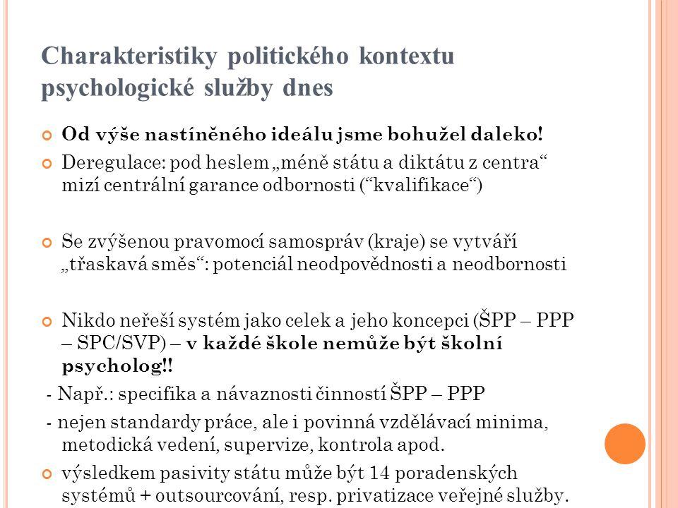 """Charakteristiky politického kontextu psychologické služby dnes Od výše nastíněného ideálu jsme bohužel daleko! Deregulace: pod heslem """"méně státu a di"""
