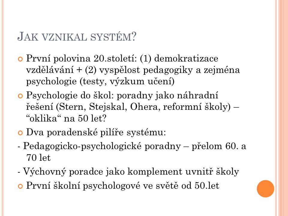 J AK VZNIKAL SYSTÉM ? První polovina 20.století: (1) demokratizace vzdělávání + (2) vyspělost pedagogiky a zejména psychologie (testy, výzkum učení) P